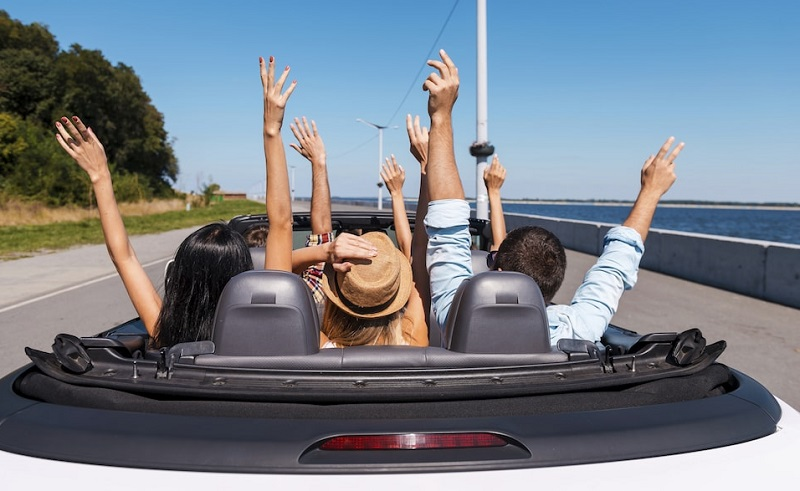 Amigos curtindo viagem de carro