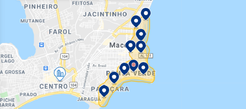 Mapa das melhores regiões de Maceió