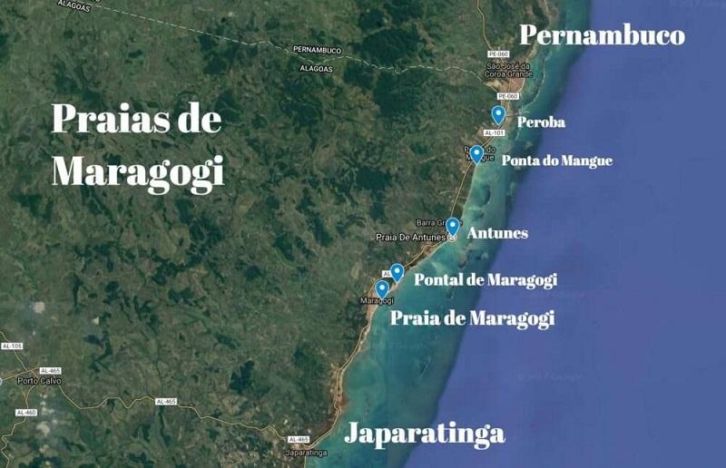 Atrativos de Maragogi - Mapa