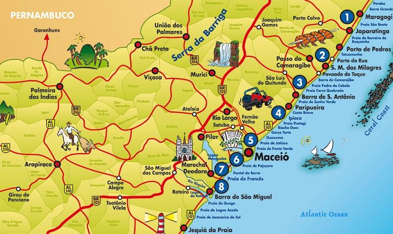Regiões para ficar em Maceió - Mapa