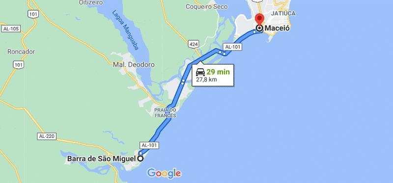 Localização de Barra de São Miguel - Mapa