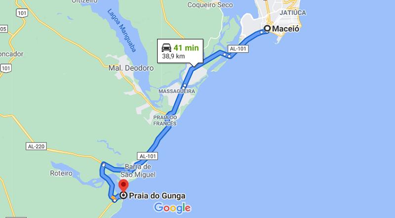 Localização da praia do Gunga - Mapa