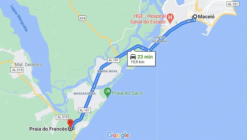 Localização da praia do Francês - Mapa