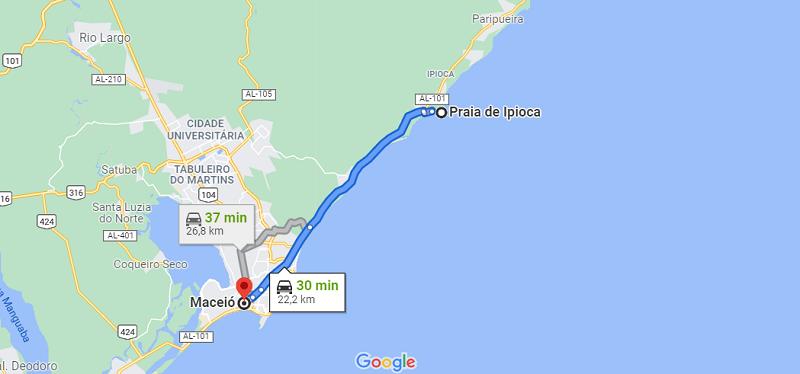 Localização da praia de Ipioca